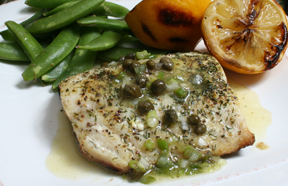 Grilled Mahi Mahi with Lemon and Caper Dressing
