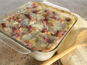 Potatoes Au Gratin and Ham
