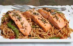 Broiled Salmon with Pasta