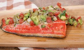 Plank Grilled Salmon with Avocado Salsa