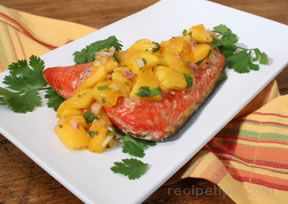 Plank Grilled Salmon with Mango Salsa