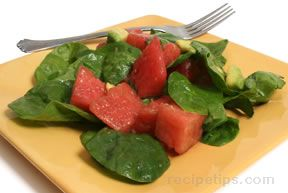 Avocado Watermelon and Spinach Salad