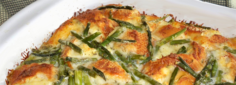 Asparagus and Cheese Bread Pudding