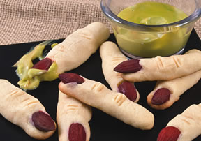halloween recipes - gnarly fingers served with slimy snot Article