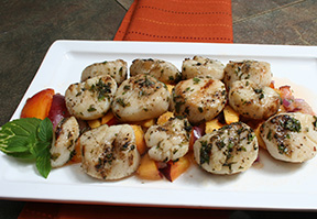 Grilled Scallops with Pineapple Peach Salsa