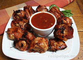 Bacon Wrapped Mushrooms with Barbecue Sauce