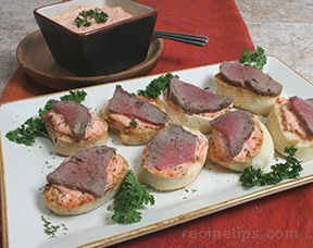 Beef Crostini with Red Pepper Mayonnaise