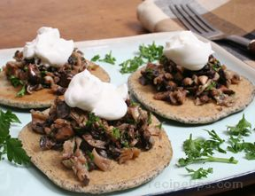 buckwheat blinis with mushroom topping Recipe