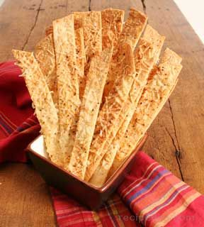flour tortilla crisps with parmesan Recipe
