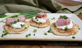 Potato Pancakes with Ham Topping