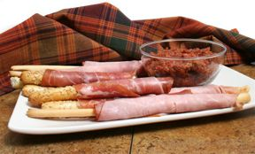 Ham Wrapped Breadsticks with Tapenade Recipe