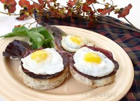 quail egg-prosciutto appetizer Recipe