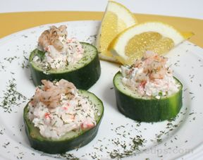 Mini Cucumber Bowls with Crab Filling