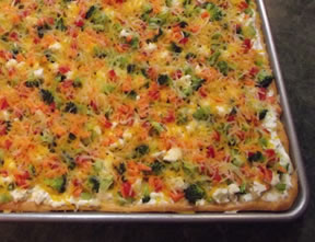vegetable pizza topped with cheese Recipe