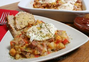 corned beef hash with eggs and spicy ketchup Recipe