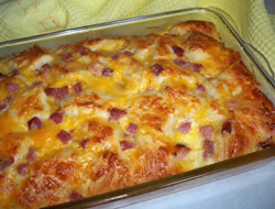 Learn how to make Crescent Roll Breakfast Casserole. MyRecipes has 70,+ tested recipes and videos to help you be a better cook. Can Flaky Grands. Step 2. Bag shredded cheddar. Step 3. Half cup milk. Step 4. Cubed ham or ground cooked sausage. Step 5. 5 eggs. Step 6. S&P.