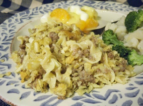 cheesy hamburger noodle hotdish Recipe