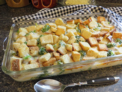Crouton Topped Broccoli Casserole Recipe