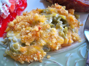 Green Bean Casserole with Ritz Cracker topping