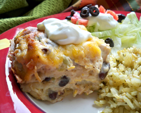 Layered Mexican Chicken Casserole