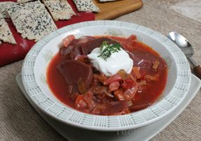 Beet Borscht with Beef and Cabbage