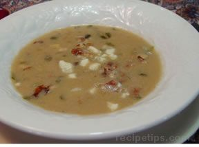 Blue Cheese Soup with Potatoes and Walnuts