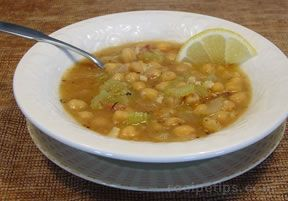 Garbanzo Soup with Garlic and Lemon Recipe