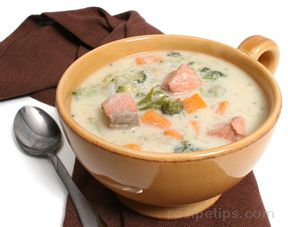 Salmon Sweet Potato and Broccoli Chowder
