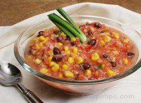 Tomato Corn and Black Bean Gazpacho