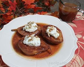 Apple Roasted Red Pears with Cream Cheese Filling