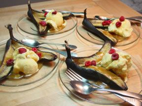 Baked Bananas with Butterscotch Sauce