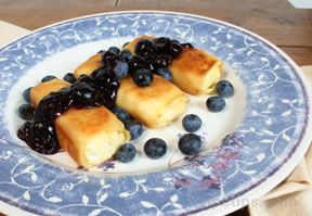 Blintz with Blueberry Sauce
