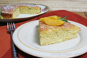 Cornmeal Rosemary Olive Oil Cake with Rosemary Peach Syrup