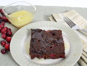 Cranberry Cake with Rum Sauce