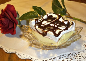 Cream Puff Dessert Drizzled with Chocolate