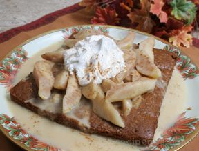 Ginger Cake with Caramelized Pears Recipe