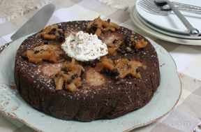 Pear Upside Down Chocolate Cake