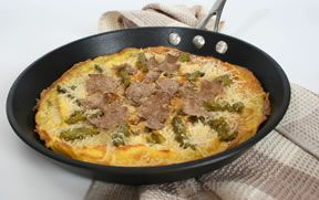Omelet with Cheese Truffles and Asparagus