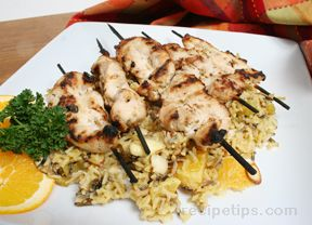 chicken satay with orange rice pilaf Recipe