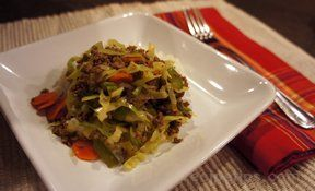 ground beef cabbage stir fry Recipe