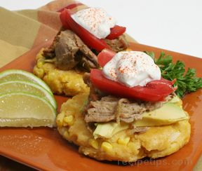 Spiced Shredded Pork on Corn Cakes