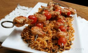 Creole Shrimp Kebabs with Tomato Rice