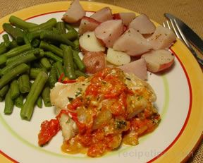 Fish with Wine Tomato and Onion
