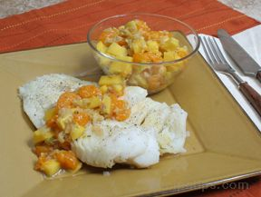 Grilled Cod with Mango Orange Chutney