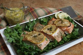 grilled salmon with gribiche sauce Recipe