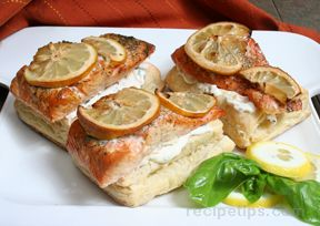 Grilled Salmon on Puff Pastry