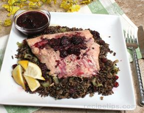 Grilled Salmon with Wild Rice and Blackberry Sauce