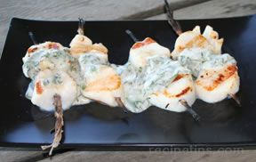 Grilled Sea Scallops with Sorrel Sauce