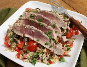 Grilled Tuna with Mediterranean Rice Salad