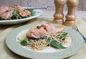 salmon with whole wheat angel hair pasta Recipe